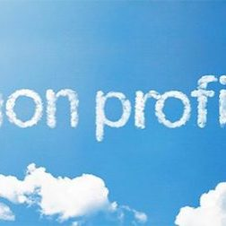 non profit written in clouds against blue sky